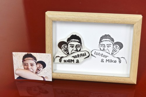 Tailor made hand carved rubber stamp (Couple)