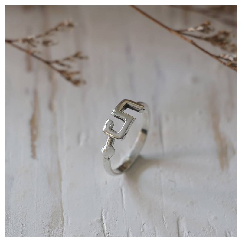 Number 5 five Minimal ring Smooth handmade lady women Girl silver thin modern