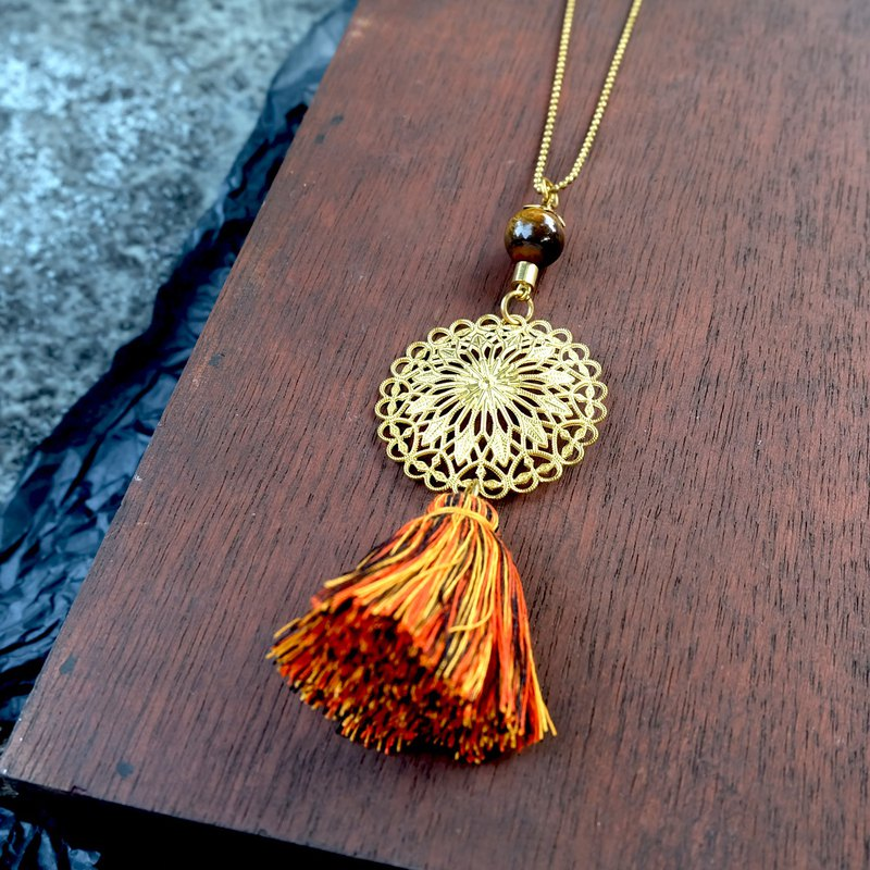 Brass emblem with tassel necklace (product code : ne001)