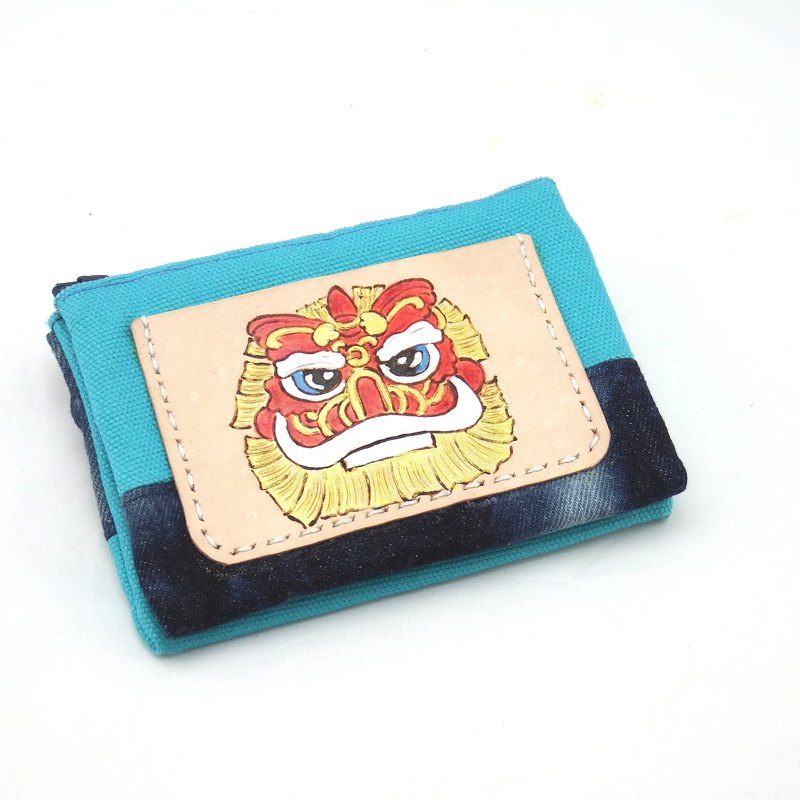 Leather and cloth wallet Q version of peace auspicious lion