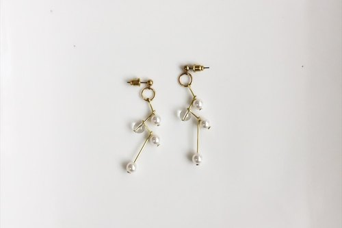 Beidou Qixing pearl brass modeling earrings