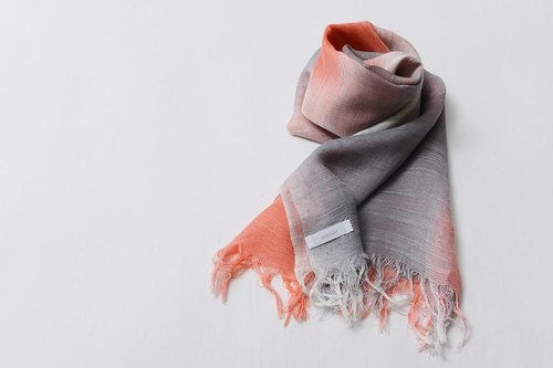 Domestic silk hand-painted dyed stole pink & gray-