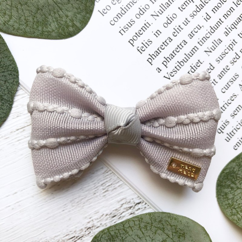Simple style bow bangs clip / ya gray