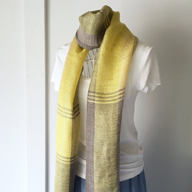 "【Belgium & French Linen: All Season】 Unisex: Hand-woven Stole ""Yellow & Gray Mix"""