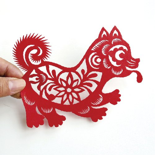 Flower dog cut paper go23