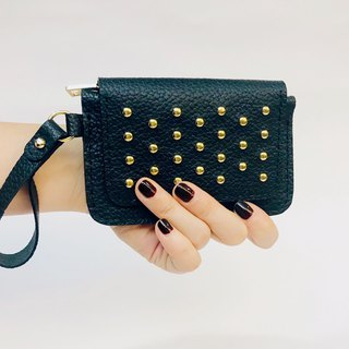 Individual leather d nail purse / black