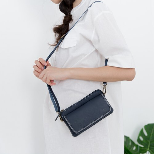 BAGUETTE-MINIMAL LEATHER FROM JAPAN CROSSBODY BAG-BLUE/NAVY