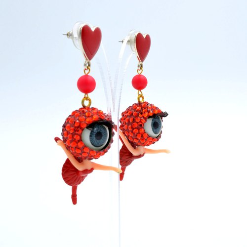 Fire red crystal beads girls earrings Heart Earrings swarovski crystal Swarovski stone