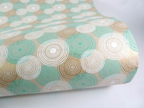 Shizen round green handmade wrapping paper