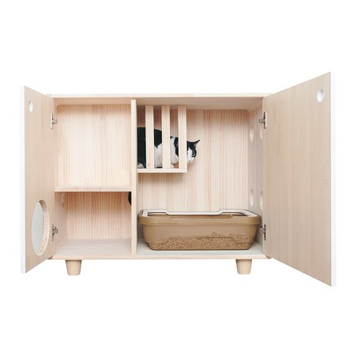 Special custom section log cat litter box