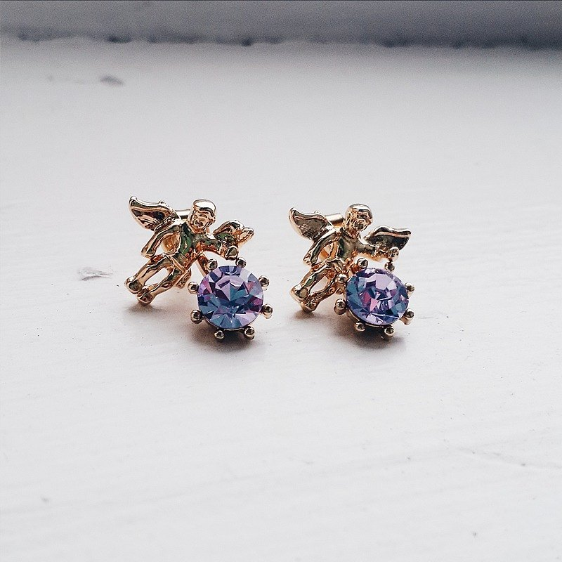 Momolico earrings little angel swarovski crystal violet
