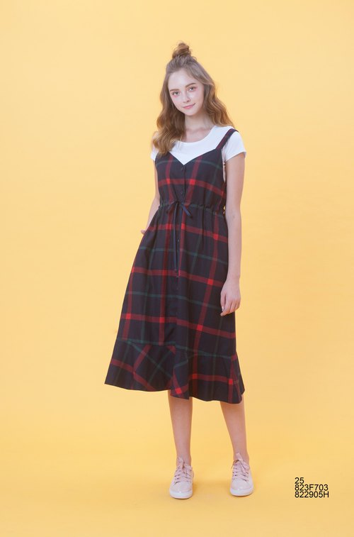 KB spring and summer Plaid two wear vest skirt 823F703 (Reminder: when ordering, specify the color)