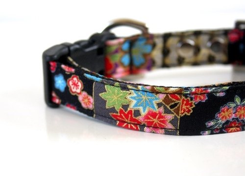Japanese Kimono Design Patchwork Dog Collar - purple, gray, black