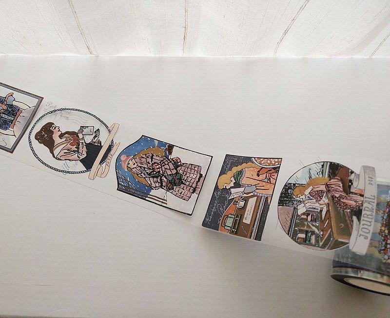 6公分 女孩 PET膠帶-10M / 帶離型紙 +白墨 亮面透明 #22
