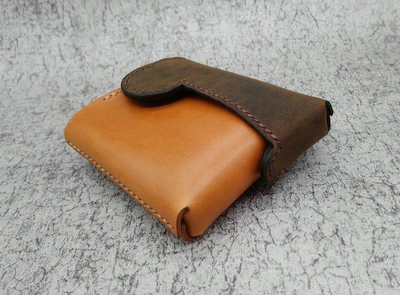 掌中-焦茶色x栗色款旋蓋式錢包/短夾