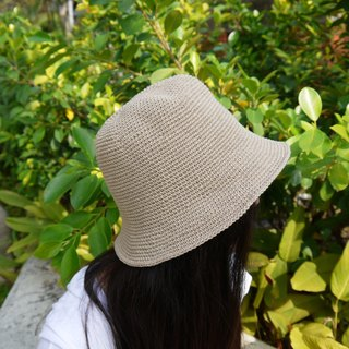 Mama の hand made hat - Summer cotton rope hat - retro square hat / Khaki / Mother's Day / picnic / outing