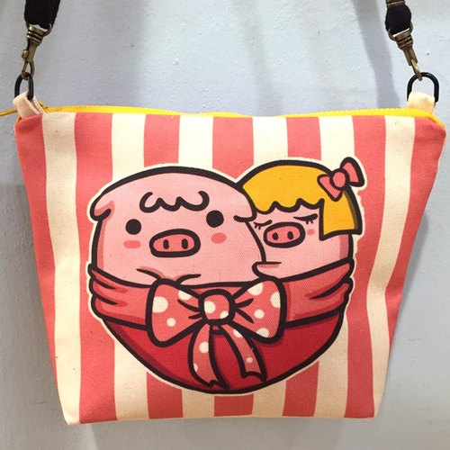 Love QQ pig dorsal bag / shopping bag / bag / carry bag / green paper / canvas type / gift / shoulder /