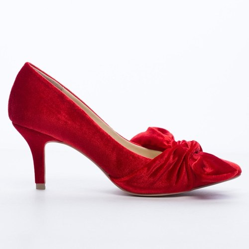 Saint Landry] [romantic velvet big bow evening shoes - red Ye Yan