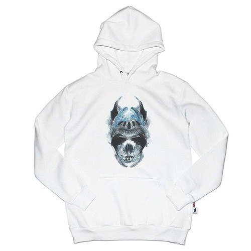 British Fashion Brand [Baker Street] Blue Feather Skull  Printed Hoodie
