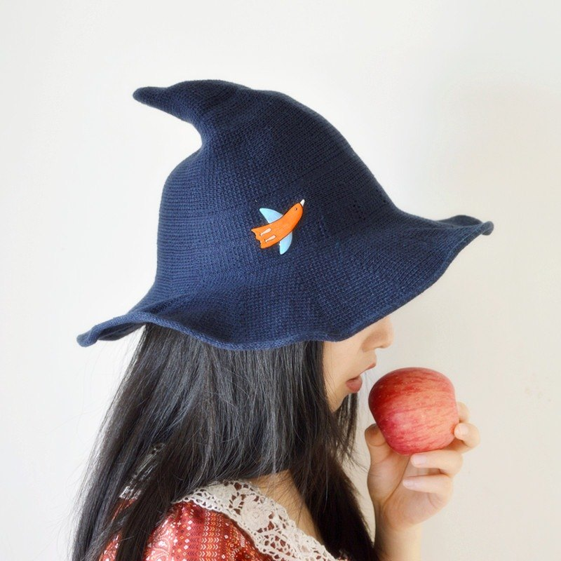 Sen Department handmade fairy birds large brimmed sun hat witch hat wool cap collapsible gift ideas