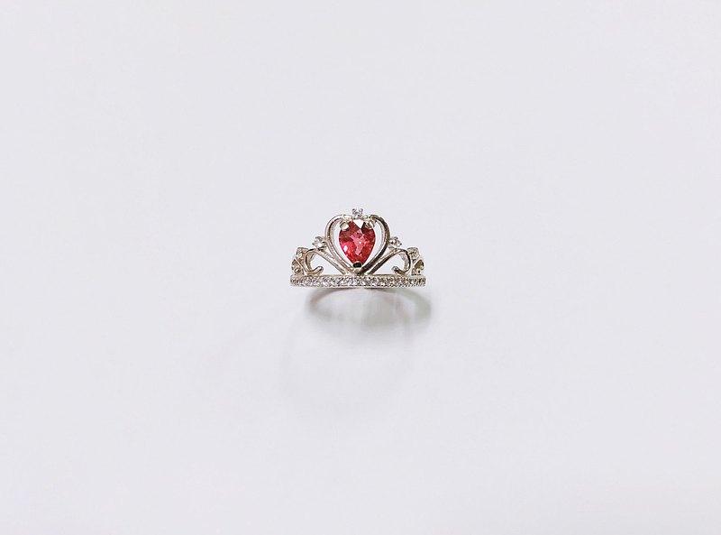 碧璽皇冠戒指 925純銀 手工鑲嵌