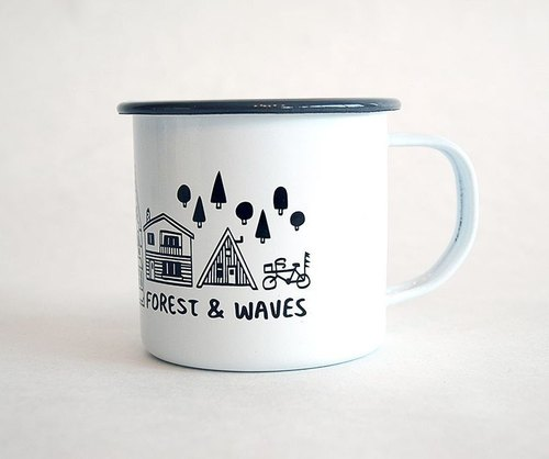 Forest & Waves enamel cup / gray