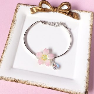 [Sakura Limited Edition] Pink Cherry blossoms hand-painted Flower crystal 925 sterling silver half-bracelet bracelet
