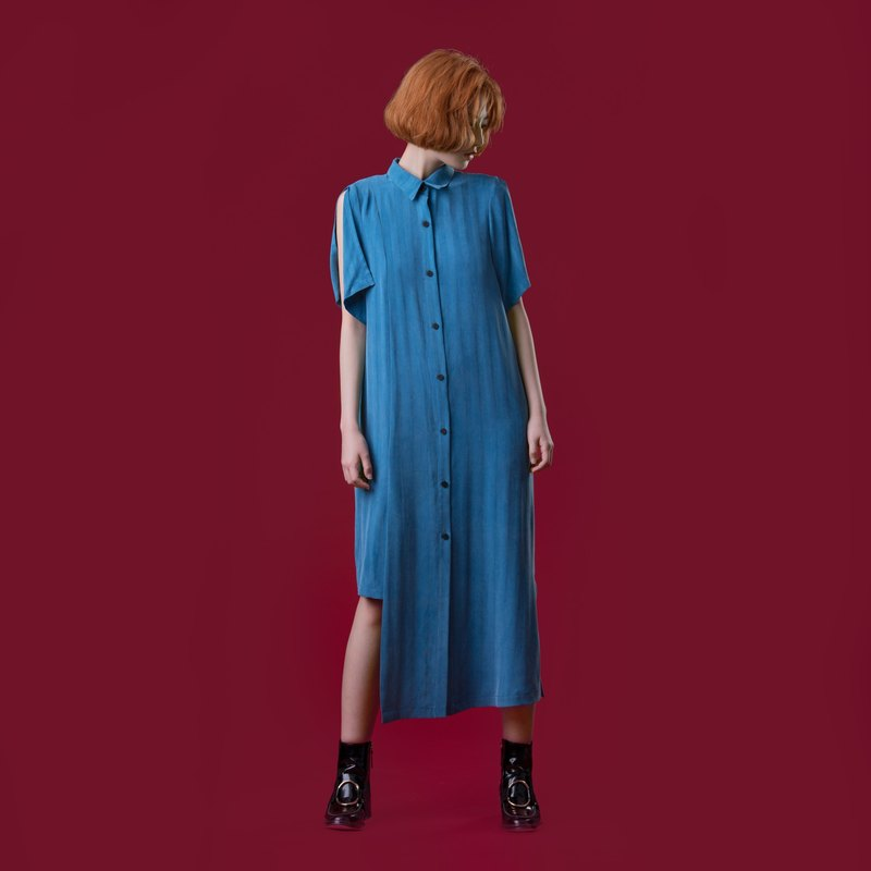 Tan-tan / vintage blue striped asymmetrical dress
