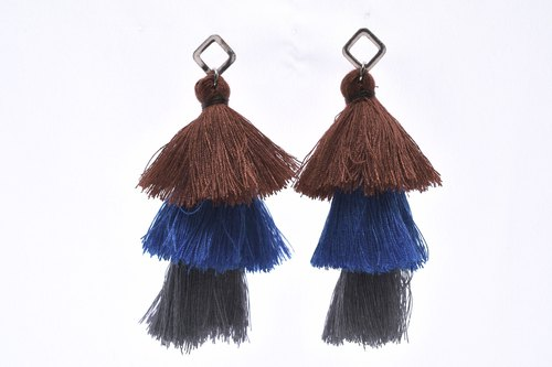 △ △ △ blue coffee personality handmade bristle earrings blue and blue
