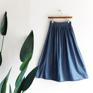 River Water Mountain - Miyagi Sky Blue Classic Plain Weekend Party Antique Cotton Tannin A-line Dress