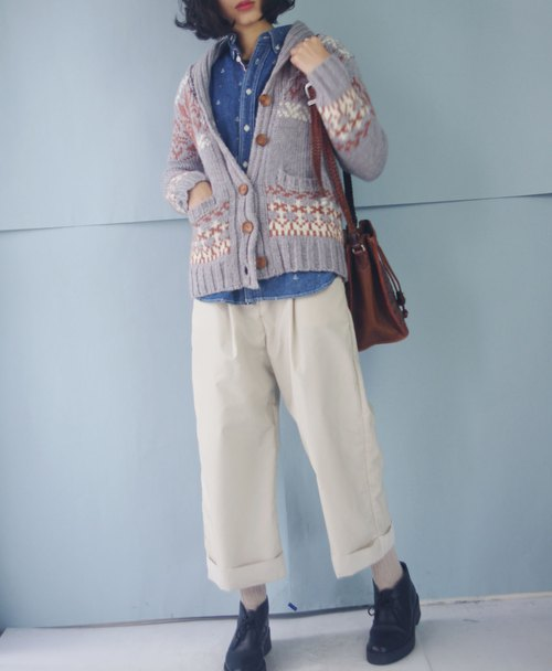 Treasure hunt vintage - Nordic warm gray snowflake lapel knit cardigan jacket