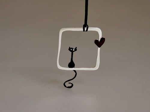 [] 925 sterling silver square type cute black cats Cat love pendant necklace pendant with cotton rope for ages creative design Valentine's Day birthday gift N158 | Greek original handmade jewelry This and