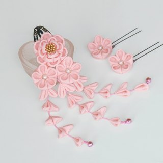 Pure silk camellia hair ornament Pink U pin flower two wheel knob work