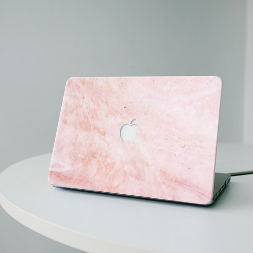 Original Pink Real Marble Macbook case with hard shell back case