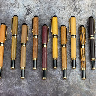 Wooden manual fountain pen black gold series with laser engraving customized wood pen wood pen pen manual pen