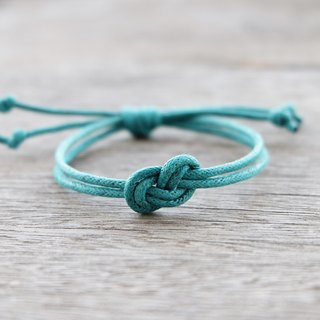 Infinity bracelet , waxed cotton cord bracelet in teal mint