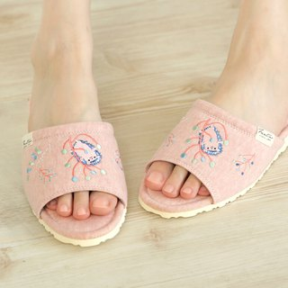 Organic cotton color embroidery indoor slippers (color dandelion)