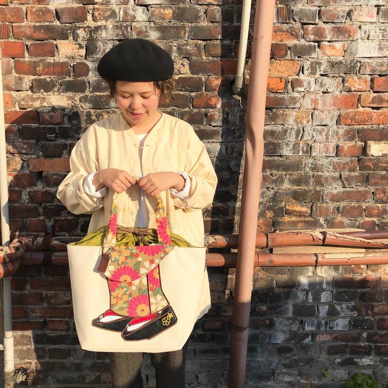 mis zapatos 舞妓トートバッグ 抹茶グリーン tote bag 日本製 Made in Japan
