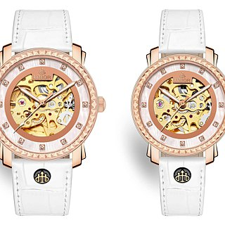 Premier Cornwall Pair Japanese mechanical watch movement rose gold leather strap LOBOR