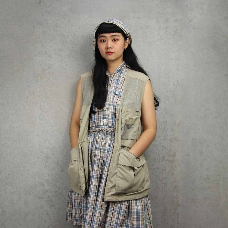 Tsubasa.Y Ancient House 003 khaki mesh fishing vest, fisherman mesh vest, both men and women can wear