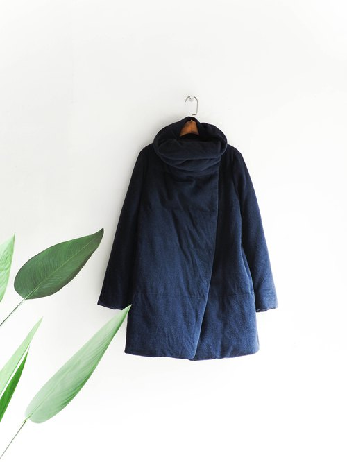 River Water Mountain - Wakayama dark blue side button winter girl antique feather sheep fur coat wool fur vintage wool vintage overcoat