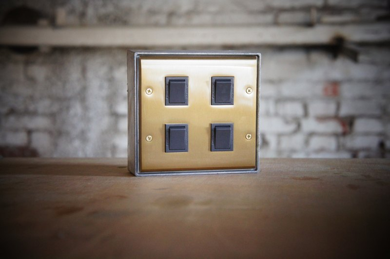 Four open / brass series / switch / three way switch / black gray (without metal box)