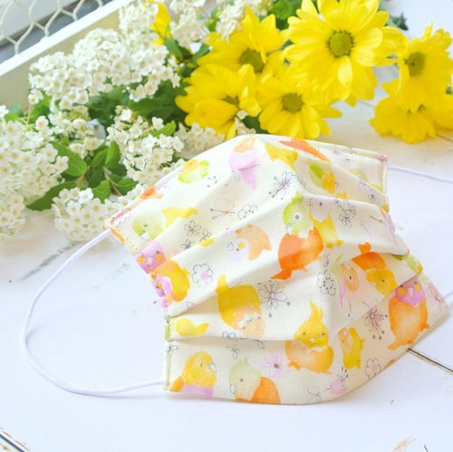 Smooth breathing handmade mask Parakeet × Flower Yellow | For bird lovers
