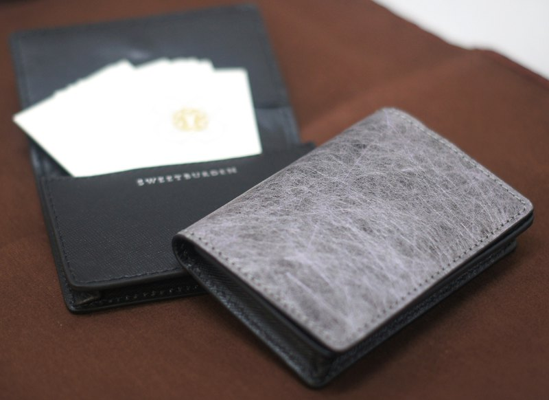 SWEETBURDEN silk cowhide - thick card holder real leather hand made