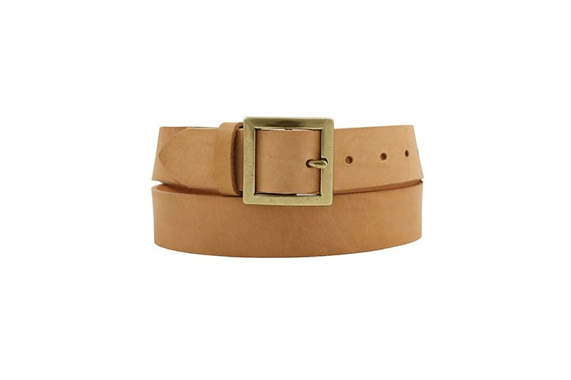 FULLGRAIN │ Italian vegetable tanned leather leather belt 3.5cm - foggy gold word buckle