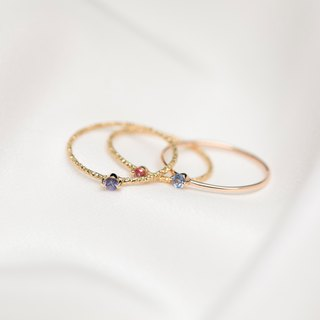 【PurpleMay Jewellery】18k Yellow Gold Sapphire Colorful Thin Ring Band R022