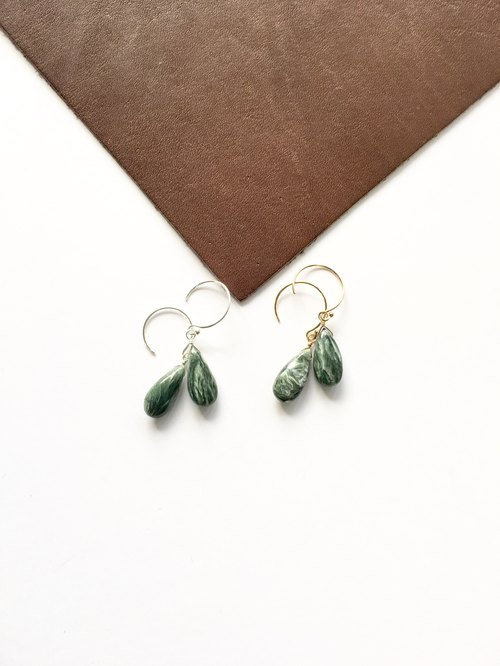 Seraphinite hook-earring 14 kgf SV 925