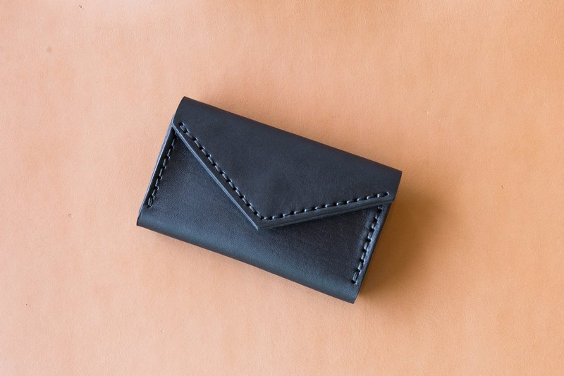 HANDMADE HIGH QUALITY JAPANESE LEATHER CARD HOLDER/SMALL PURSE-BLACK