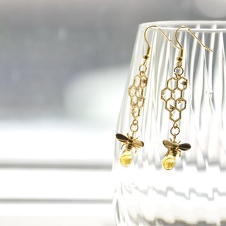 armei 『甜蜜蜜』採蜜 耳環 『My Honey』 Honeycomb Honeybee earrings