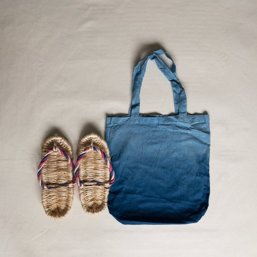 Hemp sandals Zouri & Cotton Tote bag Indigo dyed Aizen - gradient dyeing bag made in Japan